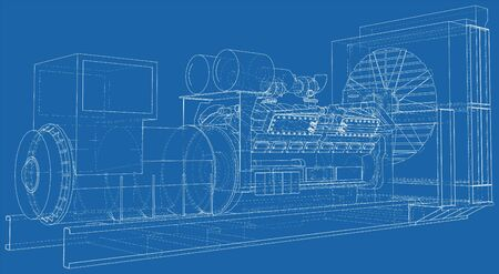 Generator. Diesel and gas industrial electric generator. The layers of visible and invisible lines are separated. Wire-frame outline. Illustration