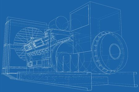 Diesel generator unit for factory. he layers of visible and invisible lines are separated. Wire-frame outline. Illustration