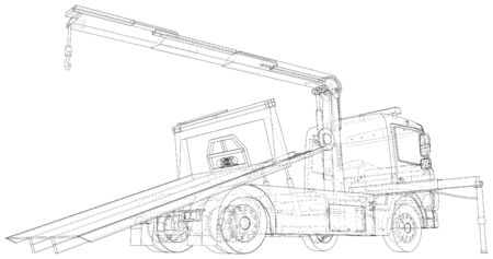Vector Wire-frame line illustrations of tow trucks. EPS10 format. Vector created of 3d.