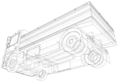 Vector Wire-frame isolated Flatbed truck on background. Vector rendering of 3d. Ilustrace