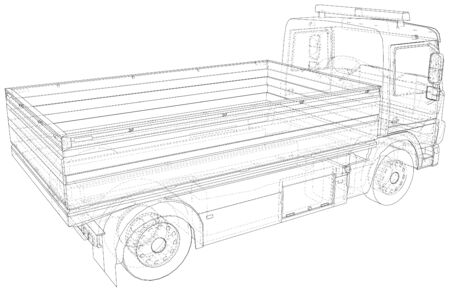 Flatbed truck vector. Trucking vehicle transportation towage. Help on road. Wire-frame. The layers of visible and invisible lines are separated. EPS10 format.