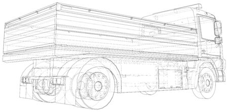 Vector Wire-frame Flatbed truck. The layers of visible and invisible lines are separated. EPS10 format. Vector created of 3d. Ilustrace
