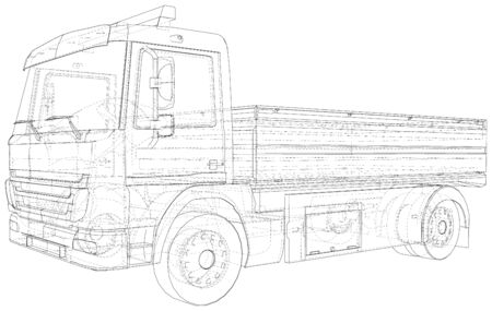 Vector Wire-frame Flatbed truck. The layers of visible and invisible lines are separated. EPS10 format. Vector created of 3d. Illustration