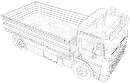 Vector Wire-frame isolated Flatbed truck on background. Vector rendering of 3d. Illustration