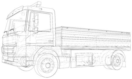 Flatbed truck vector. Isolated Wire-frame Truck. Wire-frame line isolated. Vector rendering of 3d.