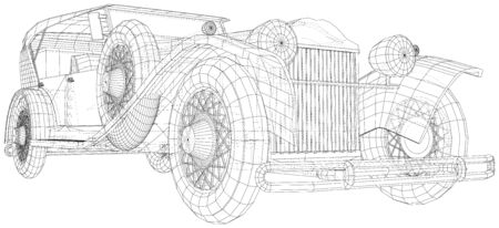 Vector Wire-frame Classic car. The layers of visible and invisible lines are separated. EPS10 format. Vector created of 3d.