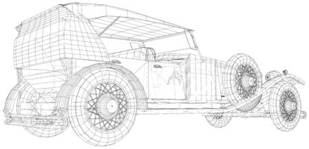 Classic car vector. Trucking vehicle. Wire-frame. The layers of visible and invisible lines are separated. EPS10 format.