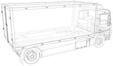 Vector Wire-frame Commercial cargo van. The layers of visible and invisible lines are separated. EPS10 format. Vector created of 3d. Ilustracja