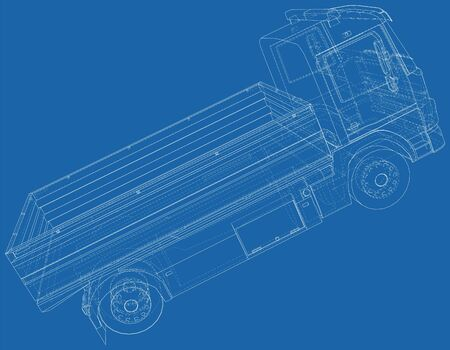 Flatbed truck illustration vector. Wire-frame line isolated. Vector rendering of 3d. Ilustrace