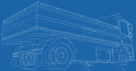 Flatbed truck vector illustration. Wire-frame line isolated. Vector rendering of 3d.