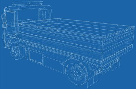 Flatbed truck vector illustration. Wire-frame line isolated. Vector rendering of 3d. Ilustrace