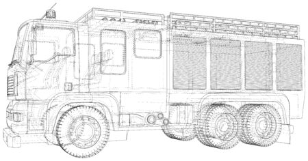 Fire truck. Fire Engine Vector illustration. Wire-frame line isolated. Vector rendering of 3d.