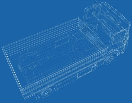 Flatbed truck. Vector Illustration of Flatbed truck. The layers of visible and invisible lines are separated. EPS10 format.