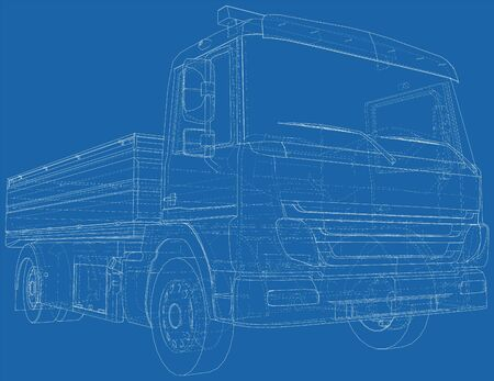 Flatbed truck vector illustration. Wire-frame line isolated. Vector rendering of 3d. Vectores