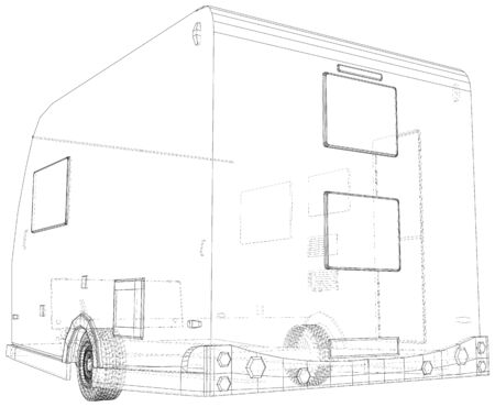 Vector Wire-frame Trailer Camper. The layers of visible and invisible lines are separated. EPS10 format. Vector created of 3d.