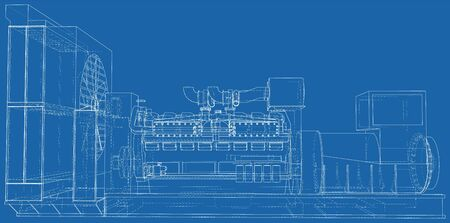 High voltage industrial standby dieasel generator at a power generation. The layers of visible and invisible lines are separated. EPS10 format. Wire-frame. Ilustración de vector