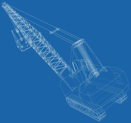Dragline excavator. The layers of visible and invisible lines are separated. The layers of visible and invisible lines are separated. Wire-frame outline.