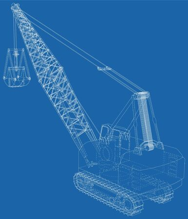 Dragline walking excavator with a ladle. Vector illustration. Vector rendering of 3d. Wire-frame style.