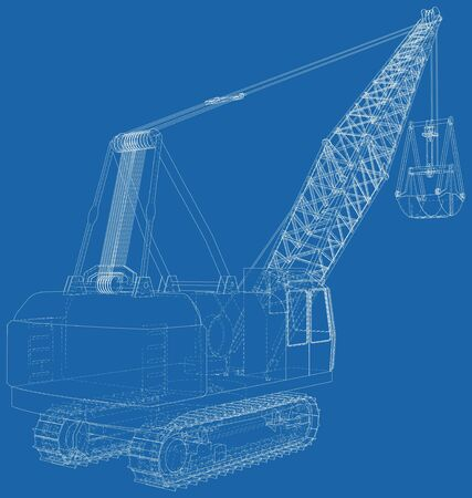 Dragline. The layers of visible and invisible lines are separated. EPS10 format. Wire-frame.