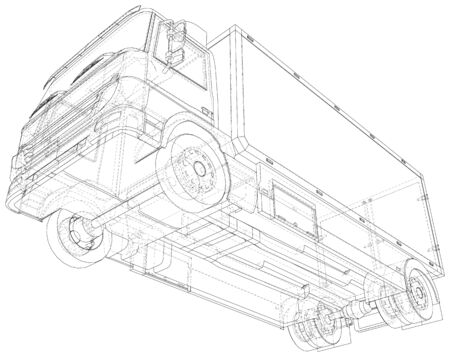 Commercial cargo van vector. Isolated Wire-frame Truck freight. Wire-frame line isolated. Vector rendering of 3d.