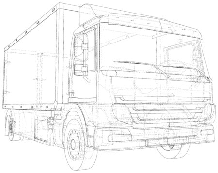 Commercial van vector. Trucking vehicle. Wire-frame. The layers of visible and invisible lines are separated. EPS10 format.