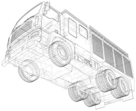 Vector Wire-frame Fire truck. The layers of visible and invisible lines are separated. 写真素材 - 148941120