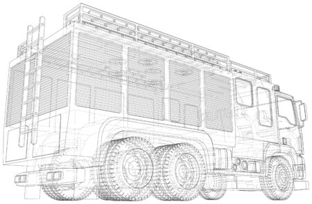 Fire truck. Fire Engine Vector illustration. Wire-frame line isolated. Vector rendering of 3d. 写真素材 - 148941123