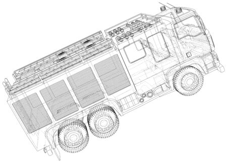 Fire Engine vector. Fire truck. Wire-frame. The layers of visible and invisible lines are separated. 写真素材 - 148941125