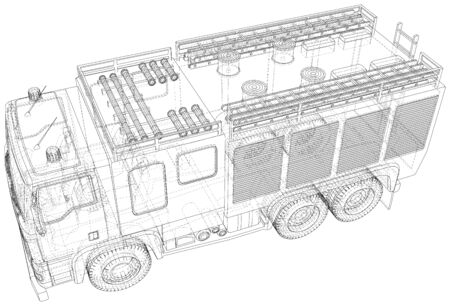 Vector Wire-frame Fire truck. The layers of visible and invisible lines are separated.