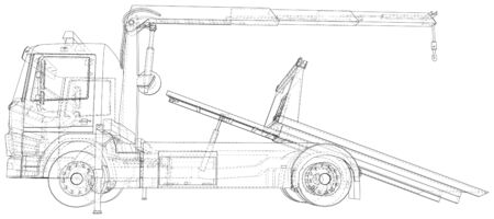 Tow truck vector. Towing car trucking vehicle transportation towage. Help on road. Wire-frame. The layers of visible and invisible lines are separated. EPS10 format.