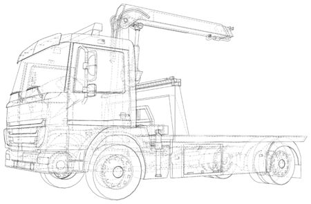 Tow Truck. Vector Illustration of Tow Truck. Towing. The layers of visible and invisible lines are separated. Illustration