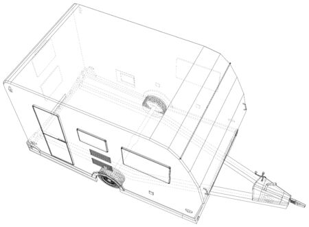 Camper Trailer Isolated. 3D rendering. Wire-frame. The layers of visible and invisible lines are separated. EPS10 format. Vectores