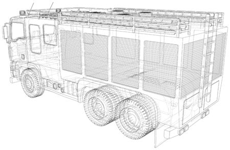 Fire Engine vector. Fire truck Wire-frame line isolated. Vector rendering of 3d.