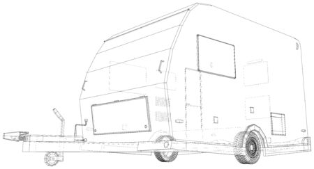 Camper Trailer. Van Caravan Vector illustration. Wire-frame line isolated. Vector rendering of 3d.