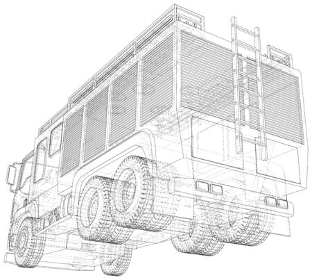 Wire-frame Fire truck. Fire Engine Vector Illustration of car. The layers of visible and invisible lines are separated.