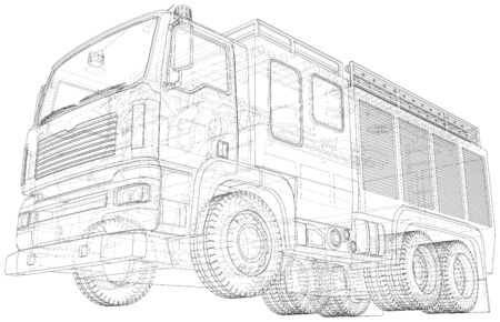 Fire Engine vector. Fire truck. Wire-frame. The layers of visible and invisible lines are separated.  イラスト・ベクター素材