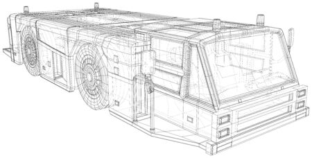 Tow truck transport in airport. Wire-frame line isolated. Vector rendering of 3d.