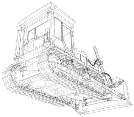 Powerful hydraulic bulldozer. Wire-frame. Vehicle Vector Illustration transport. The layers of visible and invisible lines are separated. EPS10 format. 向量圖像