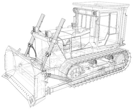Vector Wire-frame Bulldozer. The layers of visible and invisible lines are separated. EPS10 format. Vector created of 3d. 向量圖像