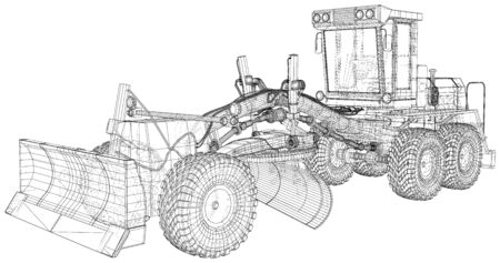 Building Grader Isolated. 3D rendering. Wire-frame. The layers of visible and invisible lines are separated. EPS10 format. Vetores