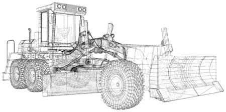 Vector Wire-frame Road grader. The layers of visible and invisible lines are separated. EPS10 format. Vector created of 3d. Vetores