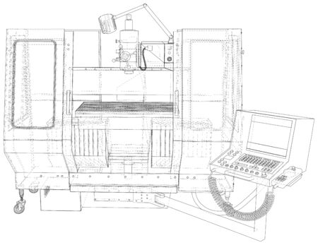 Vector Wire-frame Milling machine. The layers of visible and invisible lines are separated. EPS10 format. Vector created of 3d.