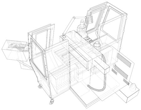 CNC lathe machine in outline style. Wire-frame line isolated. Vector rendering of 3d. Stock Illustratie