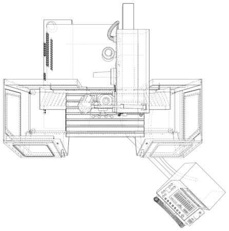 Milling CNC machine. Vector Wire-frame isolated on background. Vector rendering of 3d.