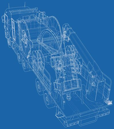 Coiled tubing machine technical wire-frame. Illustration