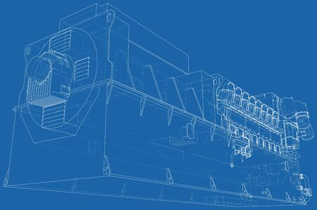 Diesel generator unit for factory. he layers of visible and invisible lines are separated. Wire-frame outline. Иллюстрация