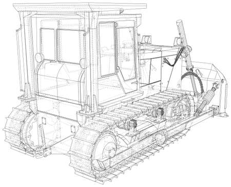 Powerful hydraulic bulldozer. Wire-frame. Vehicle Vector Illustration transport. The layers of visible and invisible lines are separated.