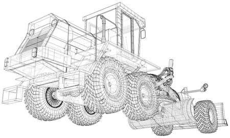 Building Grader Isolated. 3D rendering. Wire-frame. The layers of visible and invisible lines are separated. EPS10 format.