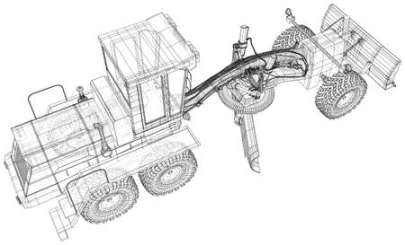 Land grader illustration vector. Wire-frame line isolated. Vector rendering of 3d.