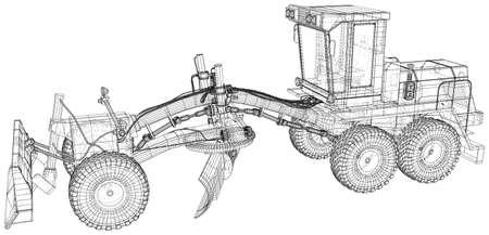 Road grader. Heavy equipmen Vector illustration. Wire-frame line isolated. Vector rendering of 3d.